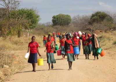 Students taking the long walk to collect water.