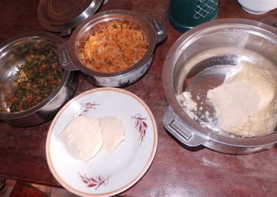 Dinner: ugali and vegetables a healthy feast.