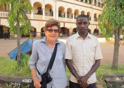 Severin Makacha, sponsored by Fostering Futures and now a primary teacher himself met the Coordinator Joy Windle  on her visit in 2017.